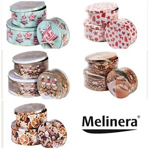 MELINERA Christmas Storage Tins Set Of 3 - Size (cm): Ø 16.5 / 22 / 25 🧁🍪🥧🥧