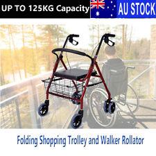 Aluminum Foldable Rollator Walking Frame Outdoor Walker Aids Mobility
