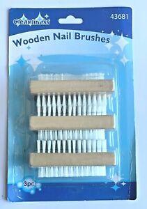 3Pcs Wooden Nail Brush Manicure Pedicure Cleaning Scrubbing Soft Bristle Gentle