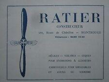 1922-24 PUB RATIER MONTROUGE HELICE COQUE AVION HYDRAVION ORIGINAL FRENCH AD