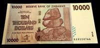 ! Zimbabwe. $10,000 banknote. 2008. UNCIRCULATED / MINT (Super rare $10000) US !