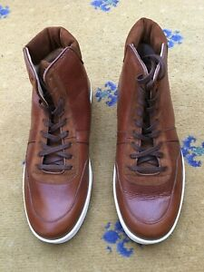 New Gucci Mens Trainers Tan Brown Leather Suede High Tops Shoes UK 7 US 8 EU 41