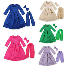 New Girl Children Muslim Long Dress Kaftan Arab Jilbab Abaya+ Hijab Sets