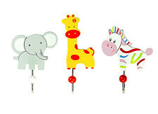 Set Of Three Safari Animal Hooks Child'S Kids Bedroom Coat Door Mousehouse