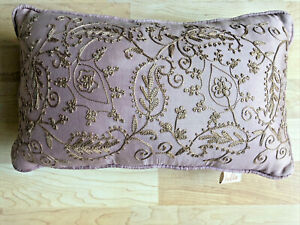 """BELLA Embroidered Floral Taupe Lavender Toss Pillow Boudoir Romantic 15"""" x 9"""""""