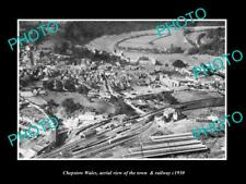 Old Large Historic Photo Of Chepstow Wales, View Of The Town & Railway c1930