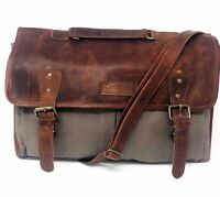 Sharo Leather Canvas Bag Messenger Laptop Bag Briefcase Brown Gray Retail $135