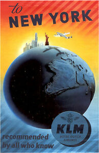 "Vintage KLM ""New York"" Travel Poster"