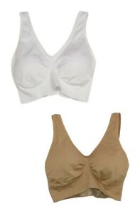 Rhonda Shear Sz 1X 2 Pack Bra Set With Removable Pads White/Beige 576265