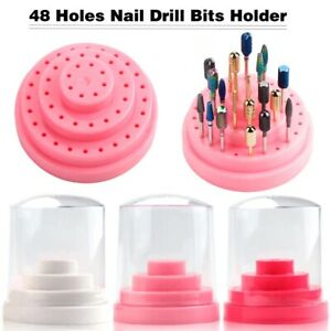 48 Holes Nail Drill Bits Storage Box Holder Display Nail Files Container Case