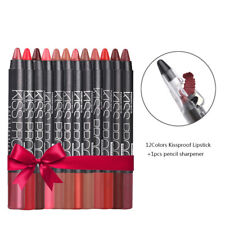 Lipstick New 12Color KISSPROOF Sexy Beauty Waterproof Lasting 1 Pencil Sharpener