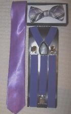 Purple Plaid Bow Tie,Solid Purple Neck Tie & Purple Adjustable Suspenders-New!v2