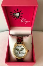 Betsey Johnson Bj00561-06 Kitty Cat Leopard Band Gold Tone 36mm Watch