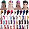 Unisex Men Women Bandana Turban Hat Durag Satin Rag Long Tail Wrap Headwear Cap