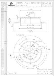 Rr Premium Brake Rotor Brembo08.5443.50