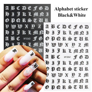 3D Nail Art Stickers Gothic Letter Black Gold  Alphabet Adhesive Decal Tips DIY