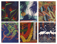 DON BLANDING mini color offset prints HAWAIIAN & FLORIDA THEMES lot of six 1950s