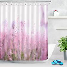 "72X72"" Pink Flower Shower Curtain Set Bathroom Decorative Bath Curtains Hooks"