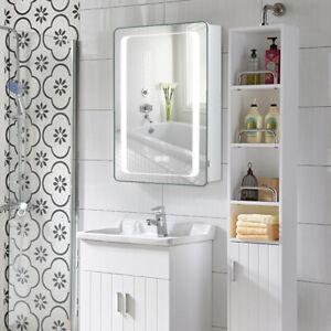 LED Bathroom  Mirror Cabinet with 2 Shelf Anti-fog Time Display Shaver Socket UK
