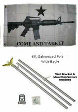 2x3 2'x3' Come and Take It White M4 Flag Galvanized Pole Kit Eagle Top