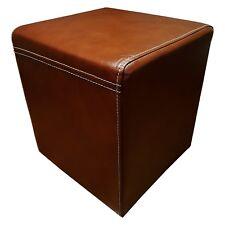 Braun Echt Leder Hocker Sitzhocker Fußhocker 40x40xH45cm Echtleder Sitzwürfel