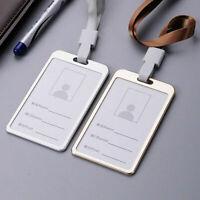 Aluminum Alloy Metal Business Work Card ID Badge Holder Lanyard Strap Display 1x