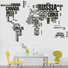 World Map Letter Wall Sticker Removable Vinyl Art Mural Decal  Home Office Decor