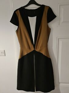 Next Brown Camel Black And White Skater Dress Size 8 (best fits size 6)