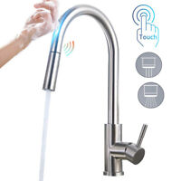 Automatic Touch Sensor Kitchen Faucet Sink Pull down Sprayer Stainless Steel