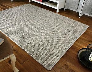 Savannah Rug Wool Hand Woven  COLOUR GREY SIZE S-M-LARGE FLOOR CARPET MAT