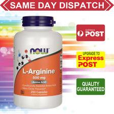 NOW L Arginine 500 mg 250 veg capsules WOUND HEALING - IMMUNE - HORMONE RELEASE