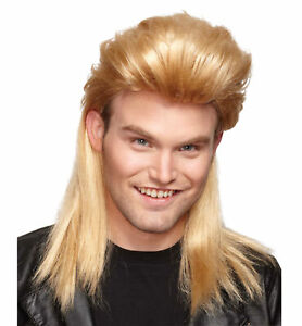 Nightclub Mullet Blonde 80s Hillbilly Redneck White Trash Bogan Mens Costume Wig