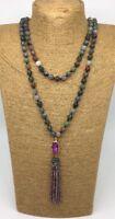 Fashion Long Knot Bloodstone Green Agate Crystal amethyst Tassel Necklace