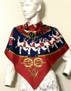 "Vintage Hermes Paris""MANEGE"" 90cm100% silk Scarf Navy blue Red Gold #6123"