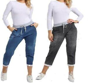 Women Ladies New Italian Elastic Waist Joggers Cotton Trousers Summer Plus Size