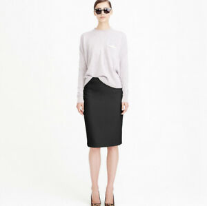 J.Crew Size 4 No 2 Pencil Skirt in Double Serge Wool Black New $128
