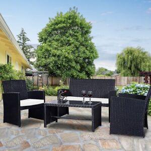 4 Pc Rattan Wicker Outdoor Patio Backyard Lawn Balcony Garden Furniture Set New