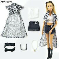 Leopard Long Coat Top Vest Skirt Shoes Necklace Outfits Clothes For Barbie Doll