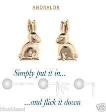 Bambine Bambini 9ct Oro Accessorio Piccolo Bunny Rabbit Borchie Orecchini Estate Regalo N