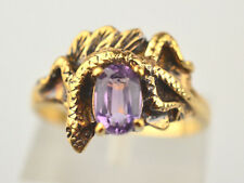 VINTAGE GOLD FILLED FACETED .43 CARAT OVAL AMETHYST RING WITH LIZARD SIZE 6.25