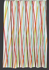 Textil Duschvorhang 120 x 200 cm BUNTE STREIFEN Weiss Braun Türkis Orange Rot