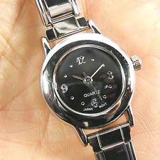 Round Black Stainless Steel Italian Charms Bracelet Quartz Wrist Watch BA04