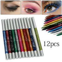 12 x Colors Glitter Eye Shadow Eyeliner Lip Liner Pencil Pen Cosmetic Makeup Set