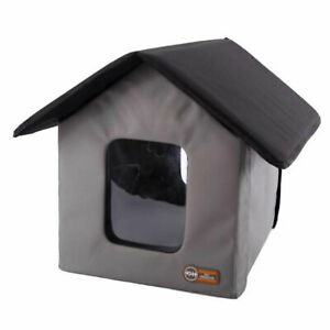 K&H Pet Products Thermo Outdoor Heated Kitty House with 2 Doors, Gray, Black