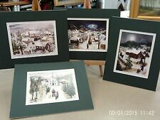 WILL MOSES MATTED 4 IMAGES CHRISTMAS SANTA TO ALL A GOOD NIGHT LITTLE CHURCH