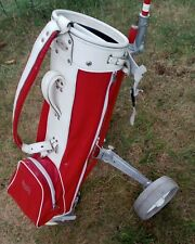 Vintage gorgeous Tufhorse Golf Bag Red & white leather.take a look :)