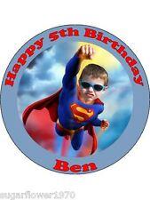 Personalised Superman own photo edible cake topper round precut