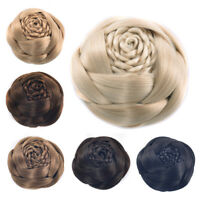 Rose Flower Twist Braids Bun Updo Cover Clip on Chignon Hair Pieces Extensions