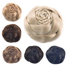 Rose Flower Twist Braids Bun Updo Cover Clip on/in Chignon Hair Pieces Extension