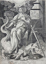 MARTEN DE VOS SADLER KUPFERSTICH ALLEGORIE MARGARITA MIT DRACHEN DÄMON UM 1590